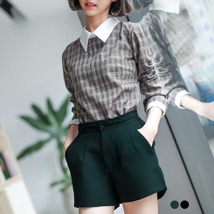 0216新品 質感荷葉邊設計打摺短褲.2色