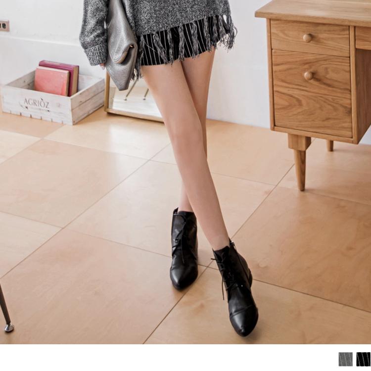 質感直條紋面料打摺後拉鍊設計短褲.2色