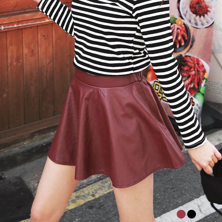 0126新品 質感皮革後鬆緊圓襬短裙.2色