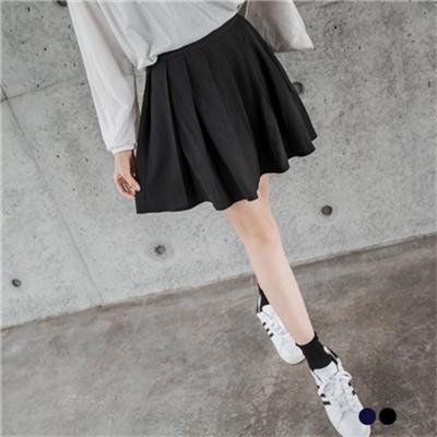 純色質感側拉鍊設計百褶短裙.2色