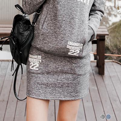 內磨毛英文燙印包臀短裙.2色