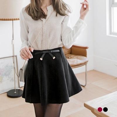 蝴蝶結假腰帶素色毛呢多片圓裙.2色