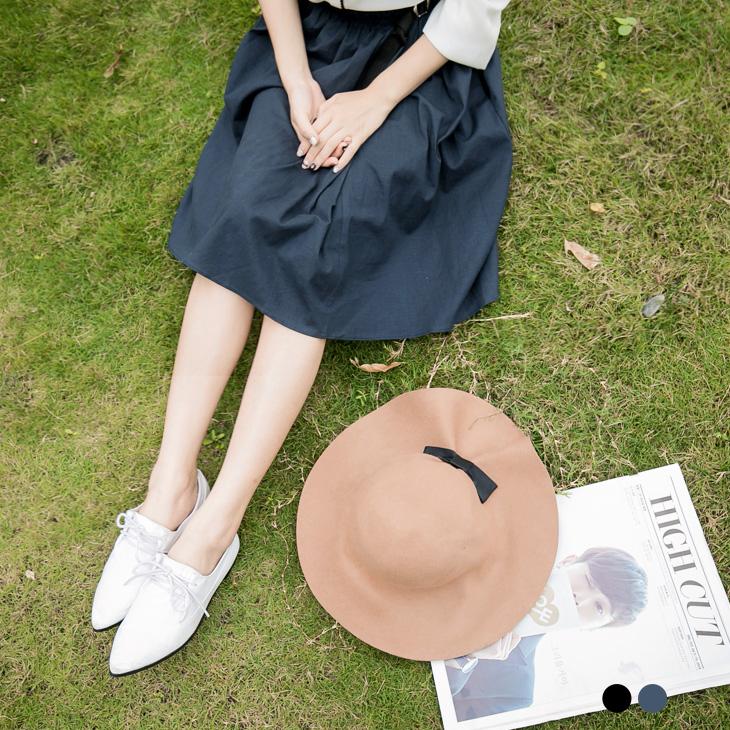 腰釦ob嚴選內搭褲設計細摺腰頭素色及膝裙.2色