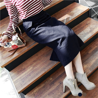 0329新品 素色斜紋大雙口袋設計中長裙.2色