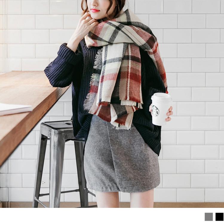 1103新品 純色磨毛面料側拉鍊設計短裙.2色