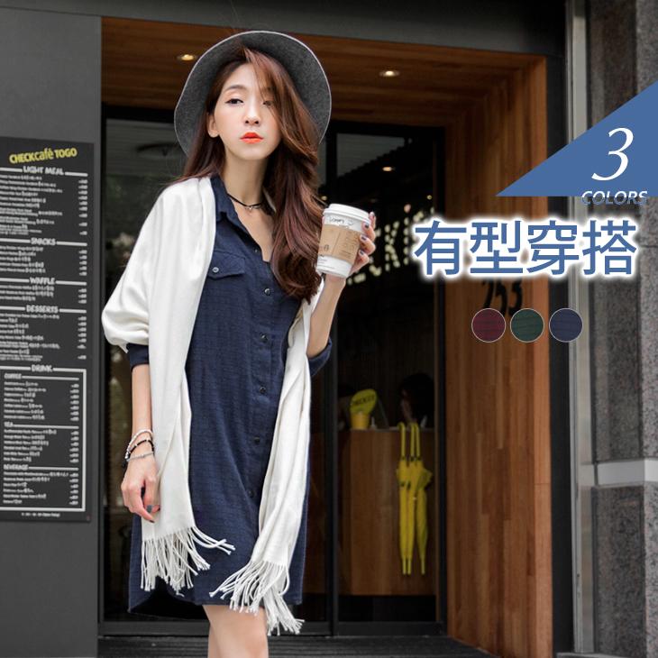 1222新品 ob服裝磨毛感知性長版格紋襯衫/洋裝.3色