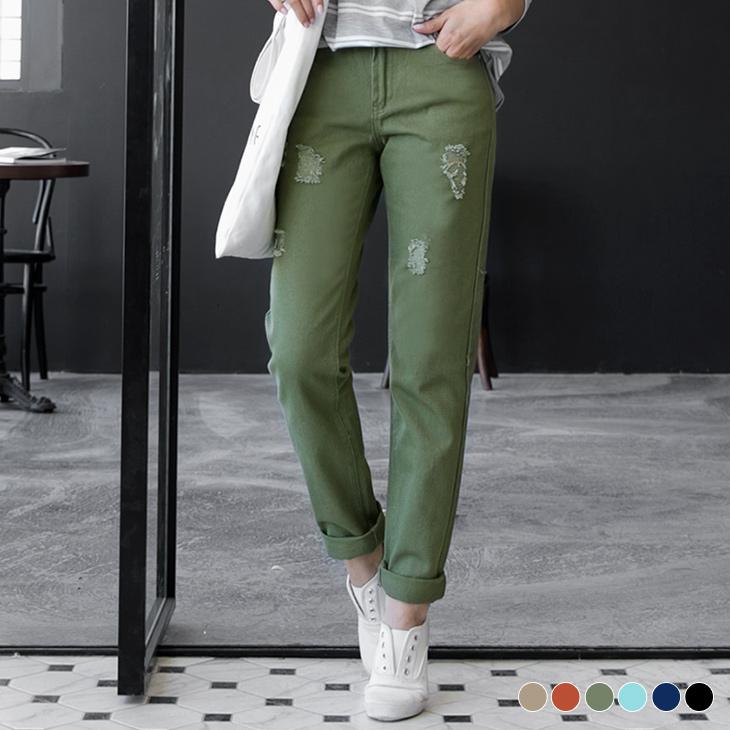 0303新品 多色單寧抓破設計直筒褲.6色