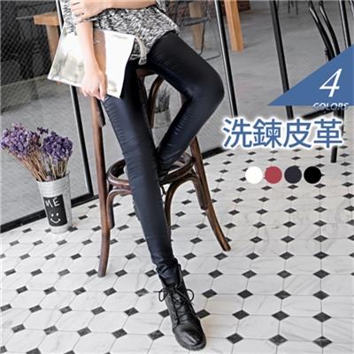 貼腿版型內裡輕刷毛皮革窄管長褲.4色