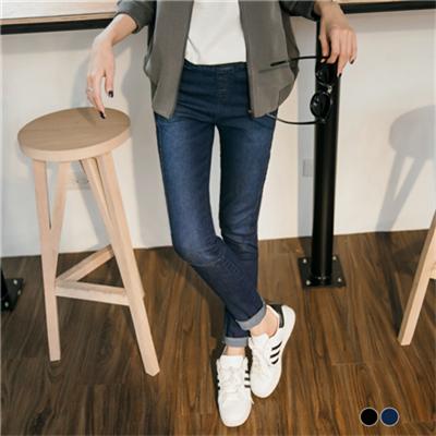 0303新品 3D立體雪花丹寧彈性腰圍窄管褲.2色