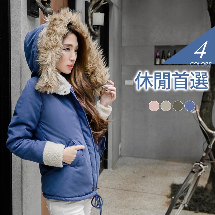 蓬厚毛領連帽內裡ob嚴選 穿搭羊羔毛舖棉外套.4色
