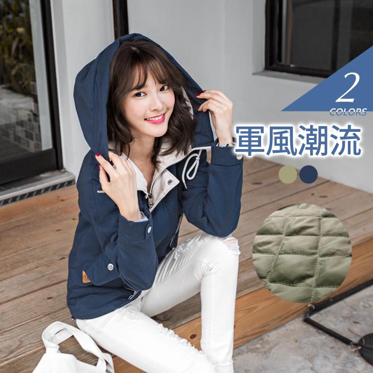1224新品 水洗質感內ob嚴選大尺碼鋪棉雙層撞色連帽軍裝外套.2色