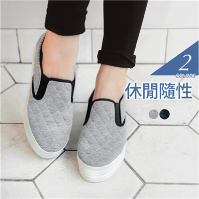 菱格壓紋仿皮革+布面休閒樂福鞋.2色