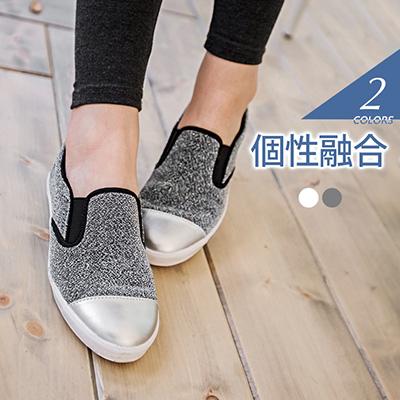 1023新品 金屬拼接圓頭仿皮革銀蔥樂福鞋/休閒鞋.3色