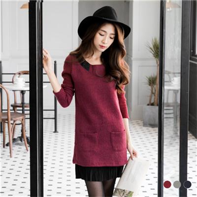 0309新品 造型領雙口袋百摺裙假兩件式長版上衣•3色