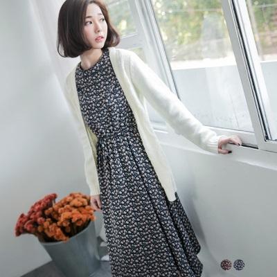 0203新品 滿版小碎花高腰鬆緊綁帶長袖洋裝.2色