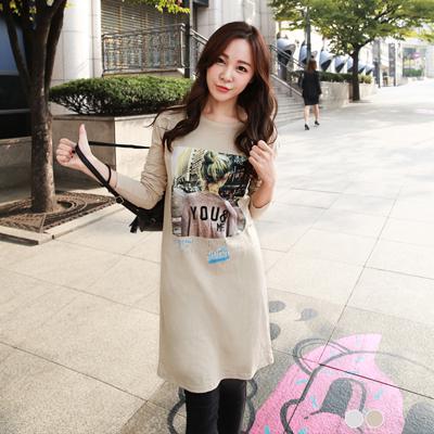0303新品 街頭女孩燙印圖案長袖洋裝.2色