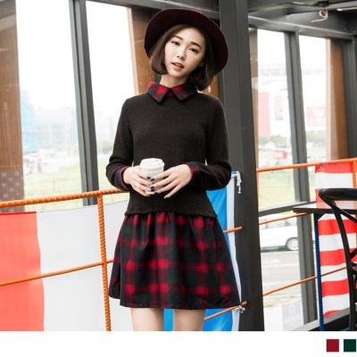 1123新品 經典格紋X針織感面料傘襬洋裝.2色