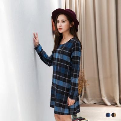 經典格紋反折袖雙口袋洋裝.2色