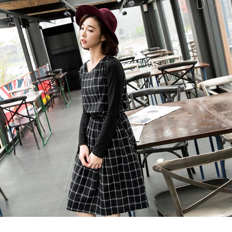 0121新品 黑白手縫ob感格紋縮腰無袖洋裝