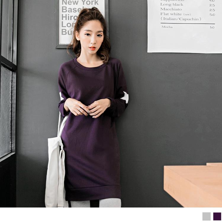 0126新品 圓領星星ob design 購物 網燙印開岔前短後長洋裝.2色