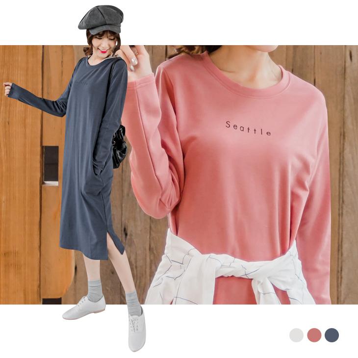0219新品 簡約英文燙印開ob嚴選 拍賣衩設計休閒長版洋裝.3色