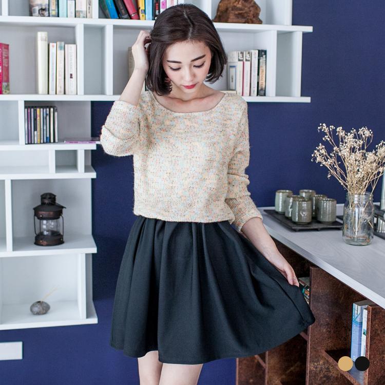 0302新品 混色質感仿毛料X素色下襬縮腰洋裝.2色