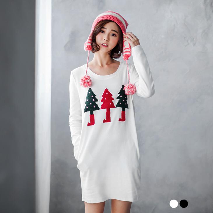 ob巖選1225新品 可愛聖誕樹造型圖案雙口袋洋裝.2色