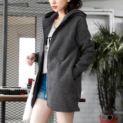 【LINE限定】磨毛質感內裡絨毛拉鍊設計連帽長版外套.2色