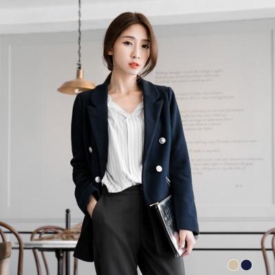 雙排釦設計側拉鍊長版西裝外套.2色