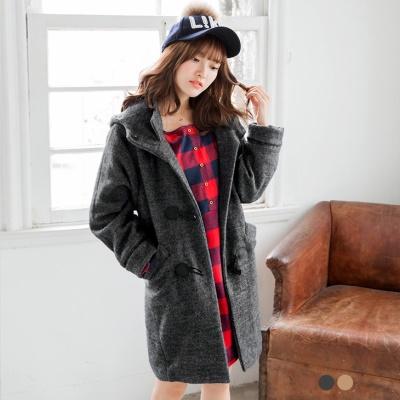 素色混羊毛牛角釦長版羊羔毛連帽外套.2色