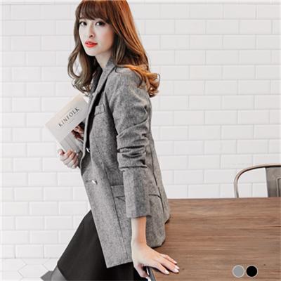 0202新品雙排釦口袋設計腰身剪裁西裝外套.2色