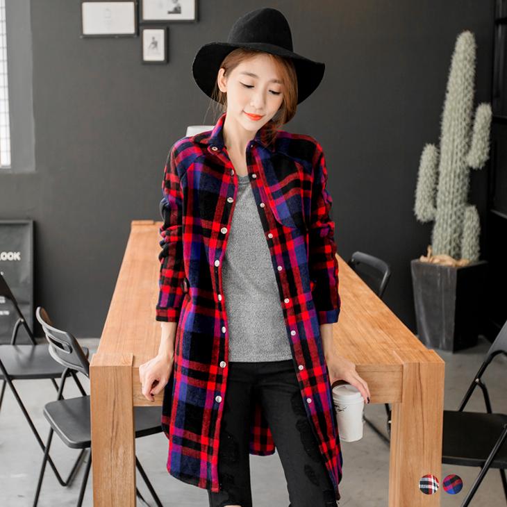 0222新品 經典格紋質感修身襯衫式長版外ob 嚴 選 客服套.2色