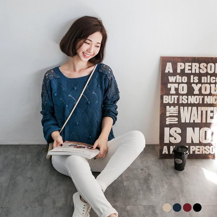 0125新品 可愛ob巖選巧思~立體圓球設計拼布蕾絲連袖針織上衣.3色