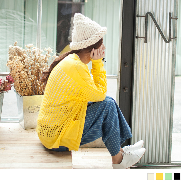 素色麻花鏤空洞洞落肩針織外套.4色