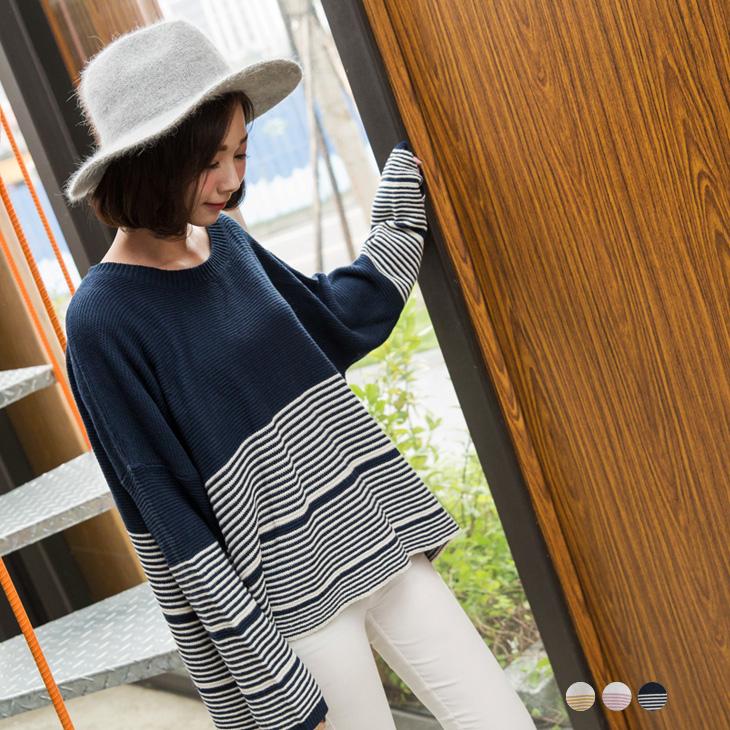 條紋ob衣服評價層次落肩前短後長針織上衣.3色