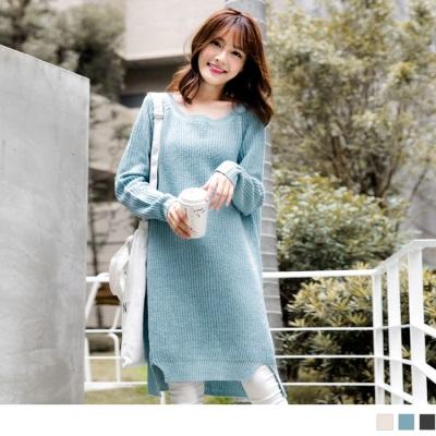 1022新品 純色前短後長開衩設計針織洋裝.3色