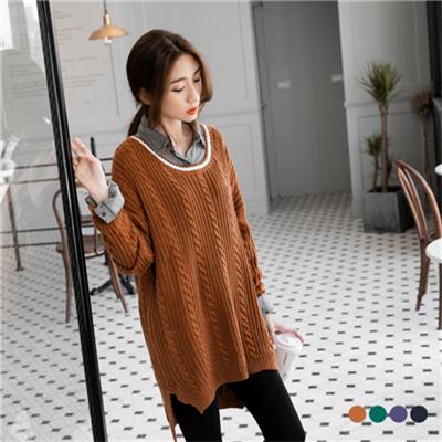1027新品 純色麻花造型前短後長針織毛衣.4色