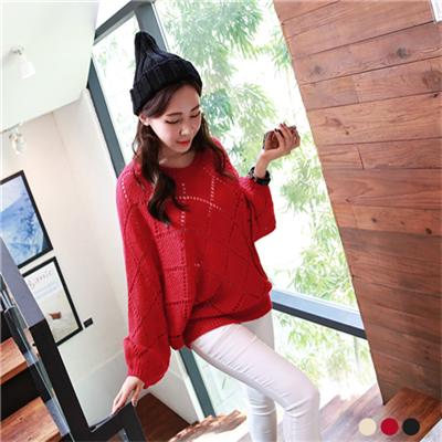 0308新品 素色菱格紋鏤空飛鼠袖針織上衣.3色