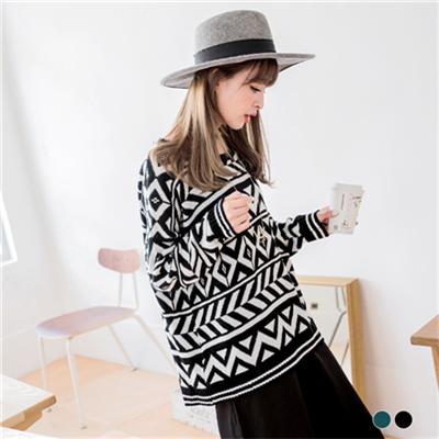 1026新品 雙色幾何圖騰織紋針織毛衣.2色