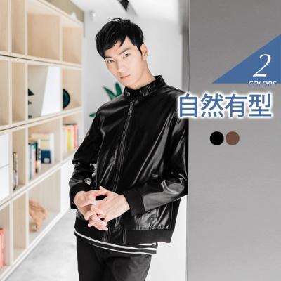 0415新品 帥氣型男仿皮革設計外套‧男2色