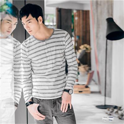 0415新品 竹節間條反折扣設計棉質上衣‧男2色