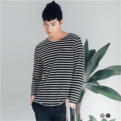 0603新品 棉質橫條紋九分袖上衣‧男2色
