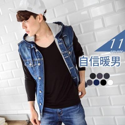 0415新品 吸濕升溫發熱衣~簡約貼身親膚發熱衣‧男11色