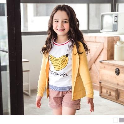 1026新品 活力俏妞~鮮豔撞色香蕉印花上衣•童2色