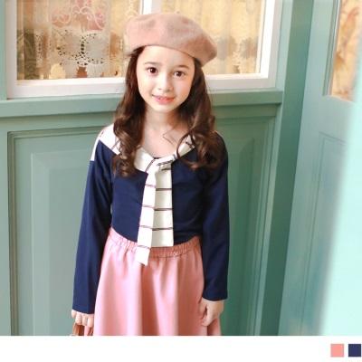 1026新品 休閒俏皮~條紋領巾設計假兩件式上衣•童2色