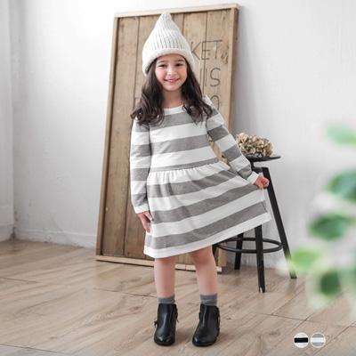 0616新品 親子裝系列~橫條紋甜美小洋裝•童2色