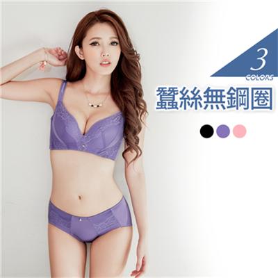 1019新品 深邃集中~3/4罩無鋼圈蠶絲內衣套組•3色(B-E)