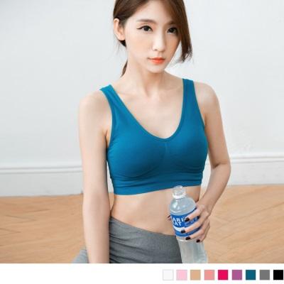 0526新品 胸前抓皺彈性素色運動半截式背心/上衣(附襯墊.9色