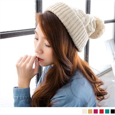 1029新品 【特價款】大毛球造型麻花針織毛線帽•6色