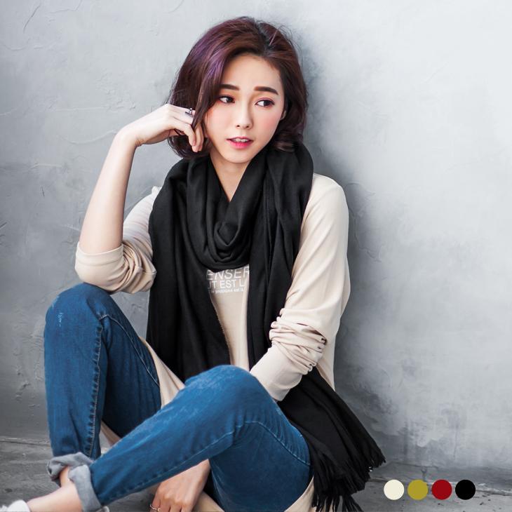 0ob 服飾 評價130新品 輕柔感素色流蘇圍巾.4色